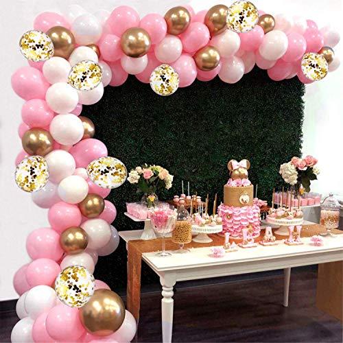 AivaToba 118pcs kit Ballon Guirlande Bannière, Ballons Blanc + Ballon Rose + Ballon Transparents et Confettis + Ballon Or pour Anniversaire Mariage Fond fête décoration Fournitures