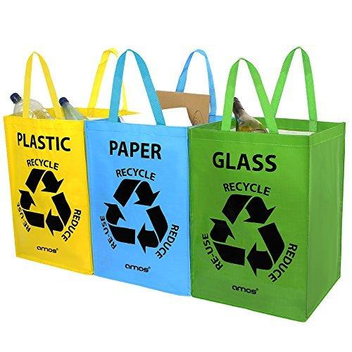 AMOS Lot de 3 Sacs Réutilisables 53L de Recyclage avec Poignées Séparateurs de Déchets pour Tri Sélectif du Papier Plastique Verre