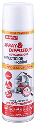 BEAPHAR - Spray & Diffuseur automatique insecticide habitat - Tue les insectes volants, rampants, les œufs et larves - Permet de traiter 160 m² - Action longue durée jusqu'à 6 mois - Flacon 500 ml
