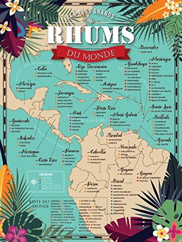 BigMouthFrog Affiche Vintage Poster Vintage Carte des Rhums du Monde 30x40cm (A3)
