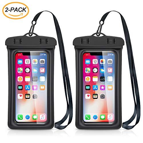 Catynore Pochette Étanche Téléphone [Lot de 2], Housse Étanche Universelle [Certifiée IPX8] Touch Sensible Sac Protection pour iPhone X/6/7/8, Samsung, Huawei P30/P20 Jusqu'à 6,5 Pouce - Noir