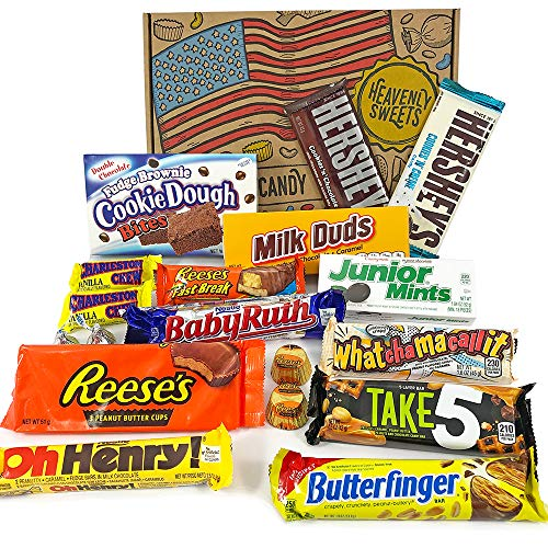 Coffret Cadeau Américain Chocolat   Noël/Anniversaire   Boîte American Candy Bonbons  Hersheys, Reeses, Baby Ruth, Butterfinger   Coffret cadeau vintage de 18 pièces