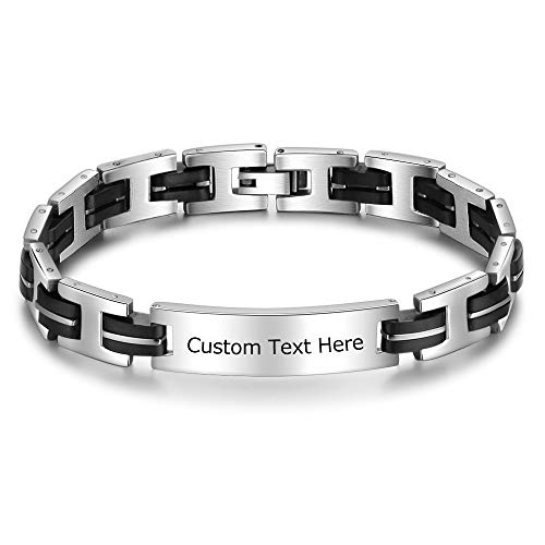 DaMei Bracelet Personnalisé pour Femme Homme avec Prenom Acier inoxydable Bracelet Gravé pour Femme avec Nom L'amour Personnalisé Cadeau Anniversaire pour BFF (Forme de H)