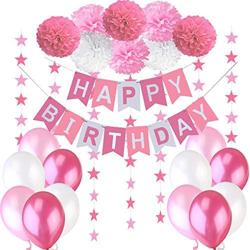 Decoration Anniversaire Fille Deco - 1 Banderole Banniere Joyeux Anniversaire Happy Birthday + 8 Pompon Fleur + 6 m Guirlande Etoiles+ 12 Ballons 30 cm Rose Blanc Fuchsia.