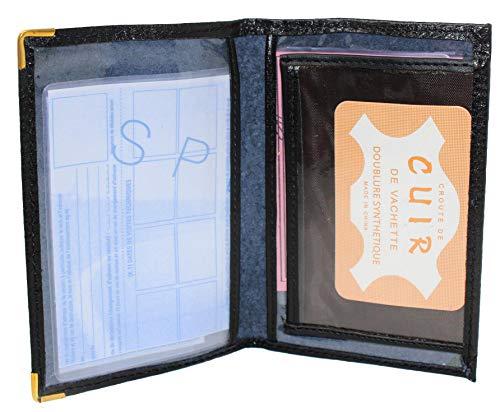 Frédéric&Johns ® - Etui Papier Voiture 2 Volets en Cuir (permis, Carte Grise, Carte bancaire, Carte de Transport) - très Pratique (Noir)