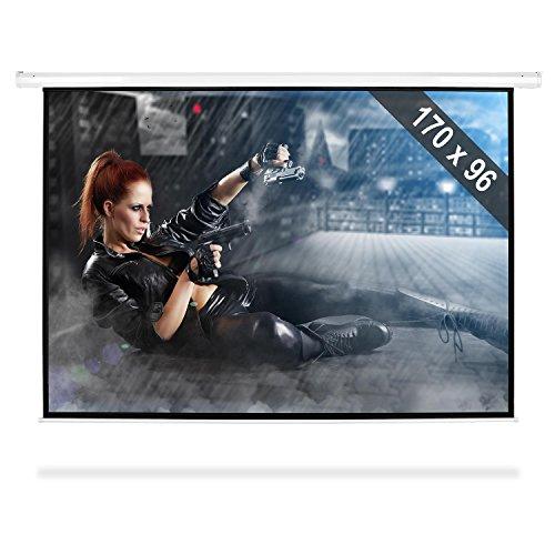Frontstage - Ecran de Projection motorisé - Toile de 170 x 96 cm pour projecteur Home Cinema HDTV (Facteur de Gain 1.0 , Diagonale de 195cm, Format 16:9)