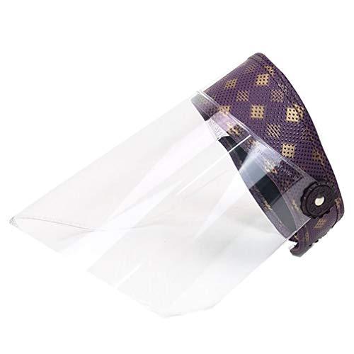 FYHJND Simple Protection Chapeau Transparent Haute Définition Et Intégral Anti-Gouttelettes Anti-Salive Visière Casquette,Violet