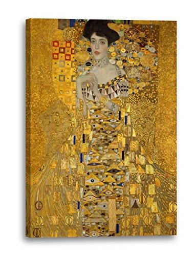 Gustav Klimt - Adele Bloch-Bauer I (1907), 100x70 cm, Impression sur toile encadrée sur cadre en bois véritable et prêt à accrocher, impression à haute qualité fabriqué en Allemagne.