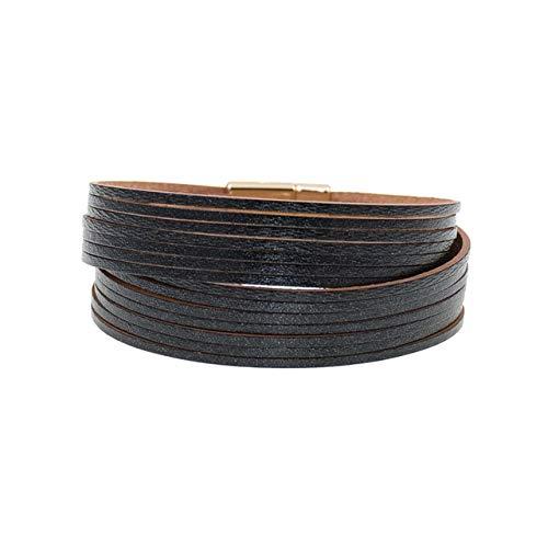HNOGRG Bracelet 12 Couleurs Bracelets en Cuir Charme en Or pour Les Femmes Bracelets Wrap Hommes Couples Bijoux