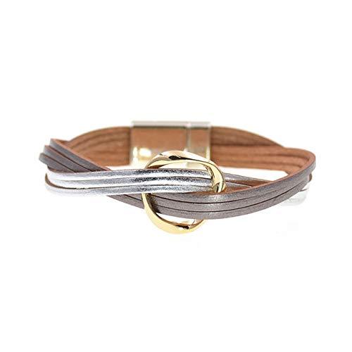 HNOGRG Bracelet 18 Couleurs en Cuir Bracelets pour Femmes Hommes Plusieurs Couches Enveloppent Bracelets Couple Cadeaux Bijoux