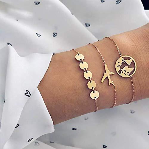 HNOGRG Bracelet 3 Pcs Ensemble Avion Terre Carte Bracelets Ensemble pour Les Femmes Multicouche Or Couleur Lien Chaîne Bracelet Bijoux Cadeaux