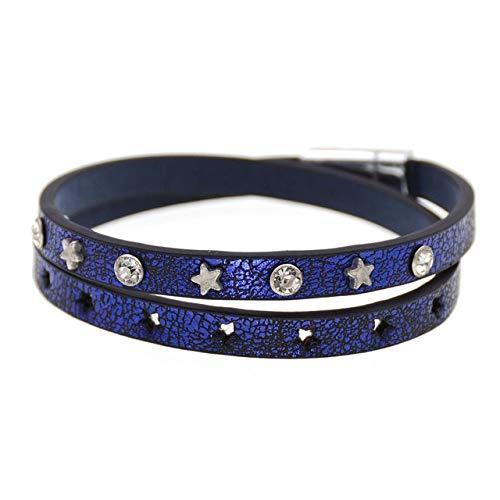 HNOGRG Bracelet Bracelet en Cuir 2 Couches 7 Bracelets en Cristal Étoiles De Couleurs pour Les Femmes Bracelet
