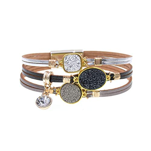 HNOGRG Bracelet Bracelets De Bracelets en Métal Bracelets en Cuir pour Femmes Bracelets De Charme pour Hommes Couples Cadeaux Bijoux