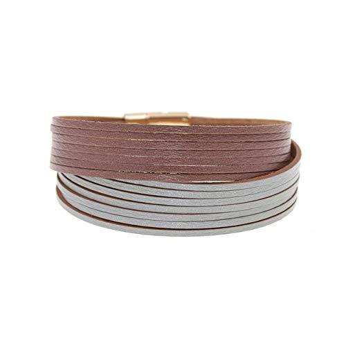 HNOGRG Bracelet Bracelets en Cuir De Couleur Double pour Les Femmes Bracelets Wrap Hommes Couples Bijoux
