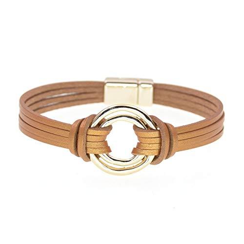 HNOGRG Bracelet Bracelets en Cuir pour Hommes Femmes Couches Multiples Couples Bracelets Cadeaux Bijoux