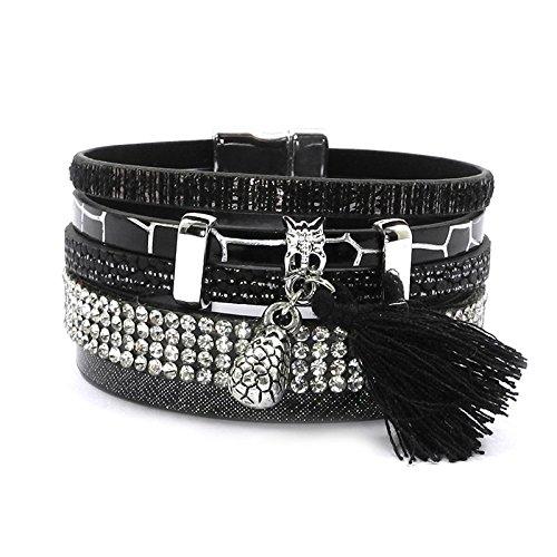 HNOGRG Bracelet Bracelets pour Femmes Bracelets en Cuir Bracelets À Breloques pour Bijoux De Fête pour Femmes