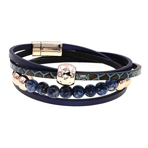 HNOGRG Bracelet Deux Couches De Bracelet en Cuir Bijoux Bracelets Perlés Bracelets De Charme pour Les Femmes Bracelet