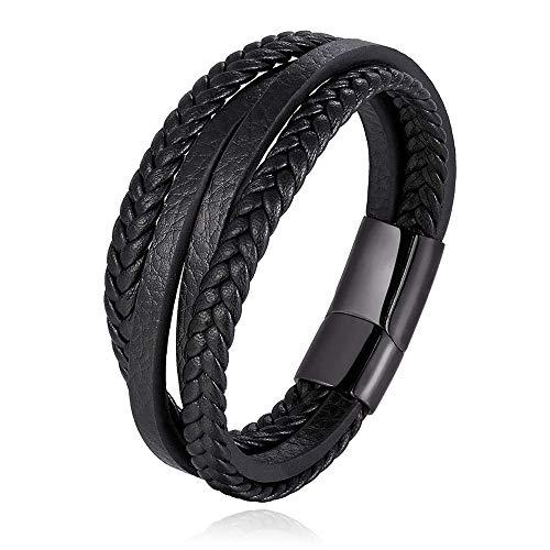 HNOGRG Bracelet en Cuir Véritable Bracelets Hommes en Acier Inoxydable Multicouche Tressé Corde Bracelets pour Hommes Femmes Bracelets Bijoux