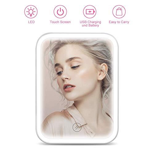 HOCOSY Miroir Maquillage LED, Miroir de Maquillage Rechargeable, Miroir Lumineux, avec Support, Interrupteur Tactile et Luminosité Réglable - Blanc