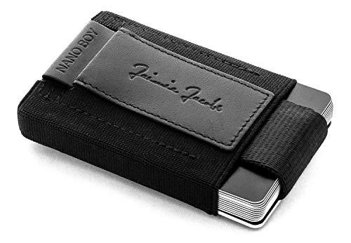 JAIMIE JACOBS Portefeuille Homme Nano Boy Portefeuilles Minimaliste Porte-monnaie fin Mini Wallet Porte-Carte Pince à Billets (Noir)