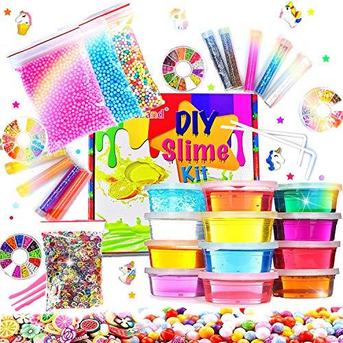 Kit de Slime Fluffy, bricolage en 12 couleurs d'argile en cristal avec 10 bouteilles de poudre scintillante pour garçons et filles, jouets en 4 tranches de fruits pour enfants à partir de 6 ans