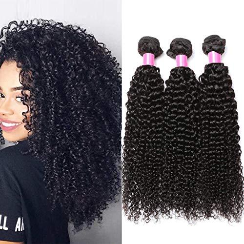 Tissage Bresilien en Lot de 3 Bresiliens 50g/pc(Non 100g) Virgin Hair Deep Curly 14 Pouces(35.4cm) Court Cheveux Boucles Cheveux Bresiliens Vierges de Tissages Cheveux Humains