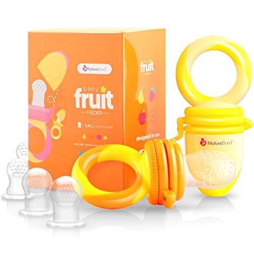 Tétine d'alimentation pour bébé/Tétine à fruit NatureBond Grignoteuse Bébé (Paquet de 2) - Jouet de dentition pour bébé aux couleurs appétissantes| En bonus toutes les tailles de sacs en silicone