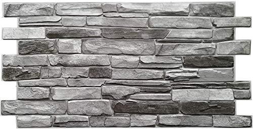 Panneaux muraux en PVC 3D décoratifs carrelage revêtement – Ardoise Argent (10 pièces)