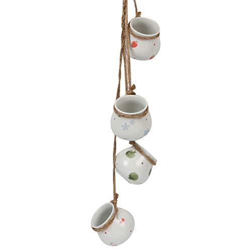 Set De 4 Pots En Céramique Pour Plantes Suspendues, Mini Pot Suspendu Pour Plantes Succulentes Avec Corde De Jute Pour Plantes Succulentes Cactus Herbes Petites Plantes (C)